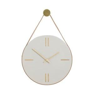 Wiszący zegar betonowy ze skórzanym uchwytem Hübsch Florian