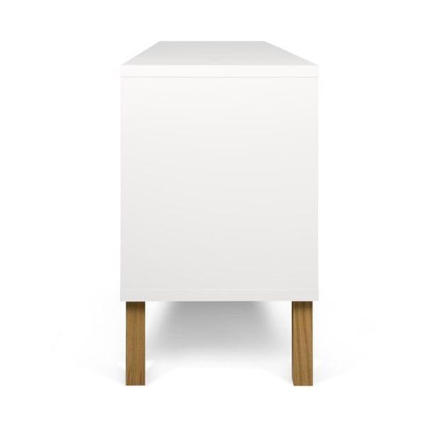 Biała niska komoda z drewnianymi nogami TemaHome Niche Pure