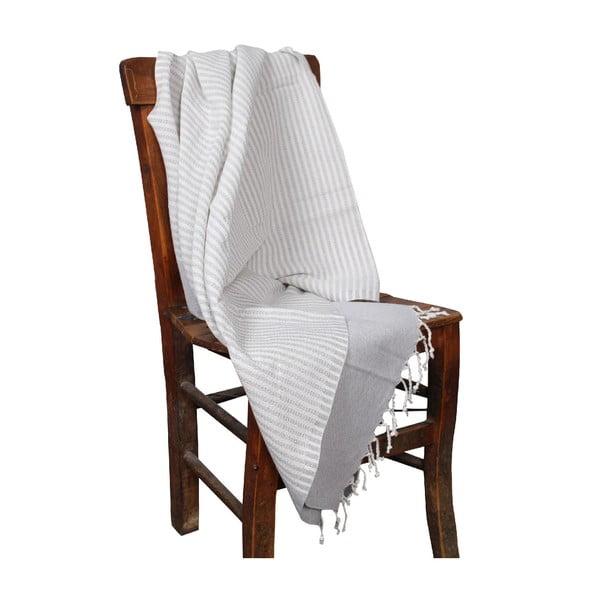 Ręcznik kąpielowy hammam Hermes Grey, 90x190 cm