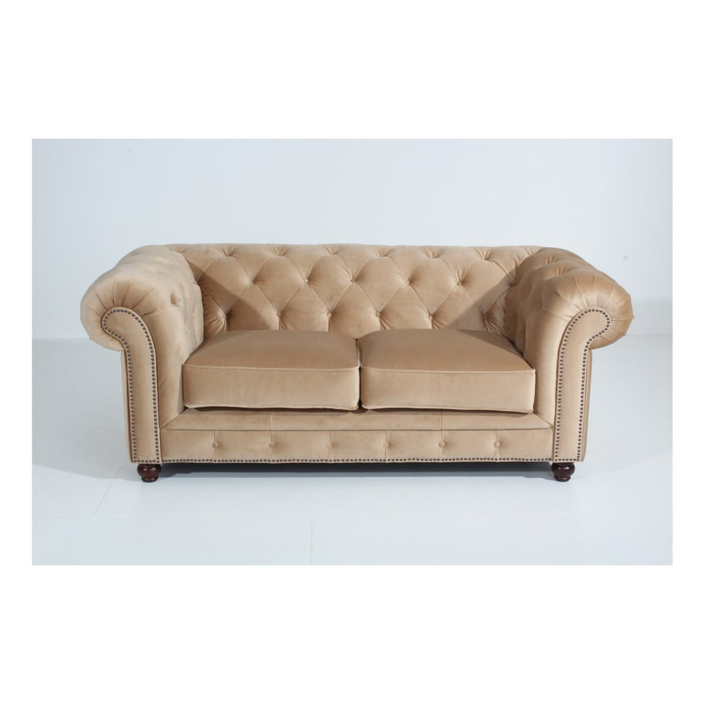 Jasnobeżowa sofa dwuosobowa Max Winzer Orleans Velvet