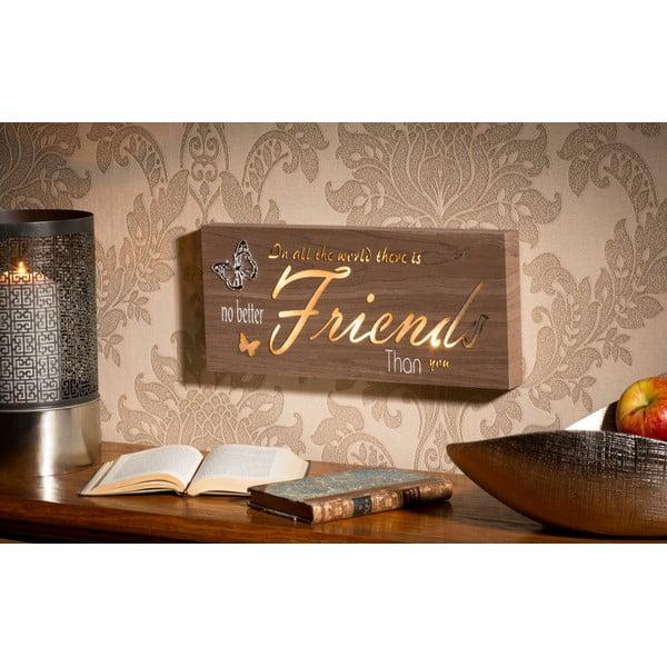 Obraz ze świecącym napisem Friends, 34x15 cm