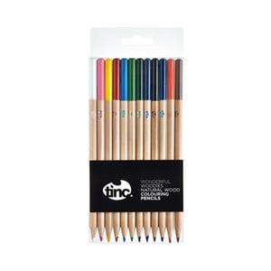 Zestaw 12 kolorowych kredek z drewna natrualnego TINC Wonderful Woodies