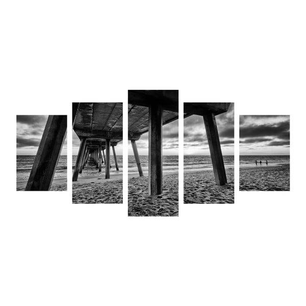 Wieloczęściowy obraz Black&White Sea, 100x50 cm
