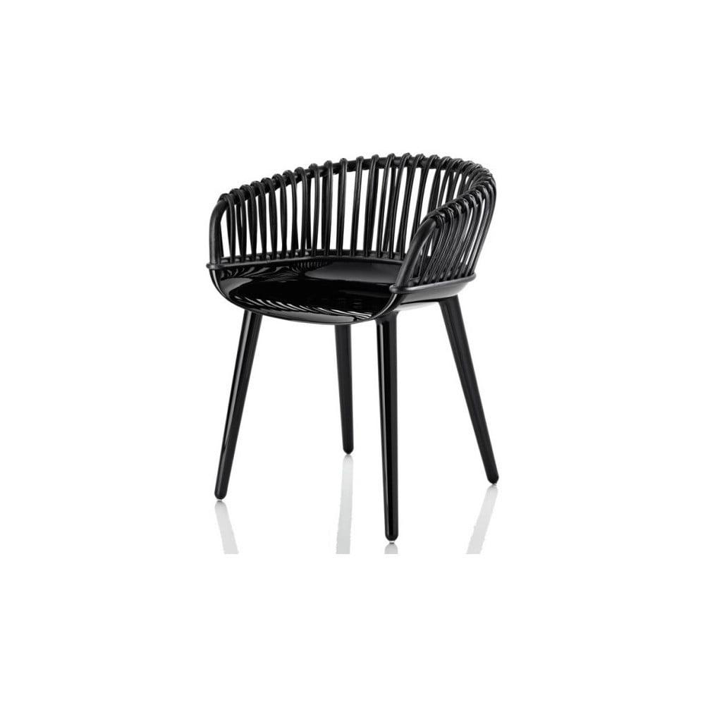 Czarne krzesło z wikliną Magis Cyborg