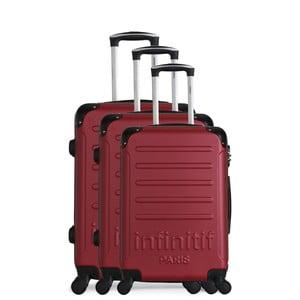 Komplet 3 bordowych walizek podróżnych na kółkach Infinitif Horten-A