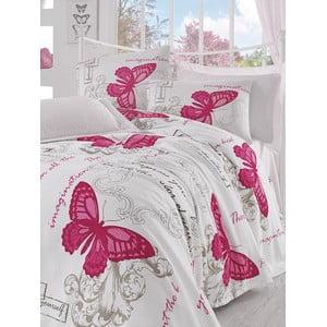 Narzuta i prześcieradło Pink Butterfly, 160x235 cm