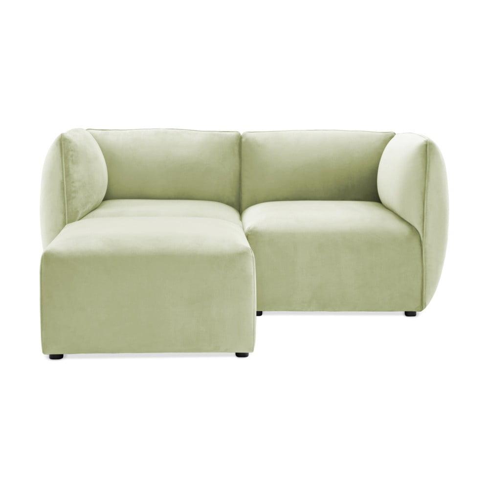 Jasnozielona 2-osobowa sofa modułowa z podnóżkiem Vivonita Velvet Cube
