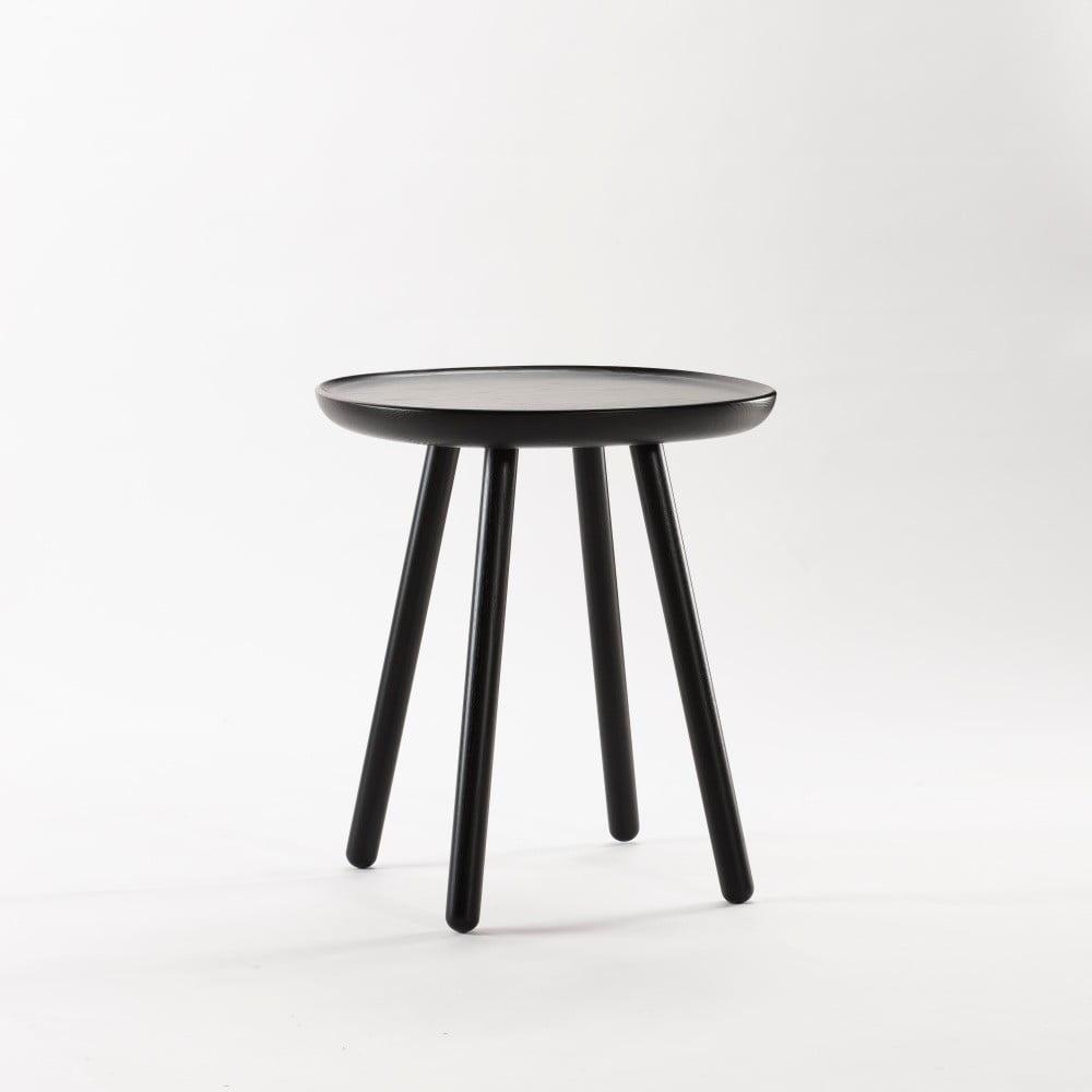 Czarny stolik z litego drewna EMKO Naïve Small, ø45cm