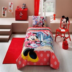 Narzuta dla dzieci z poszewką na poduszkę Minnie Tea Time, 160x220 cm
