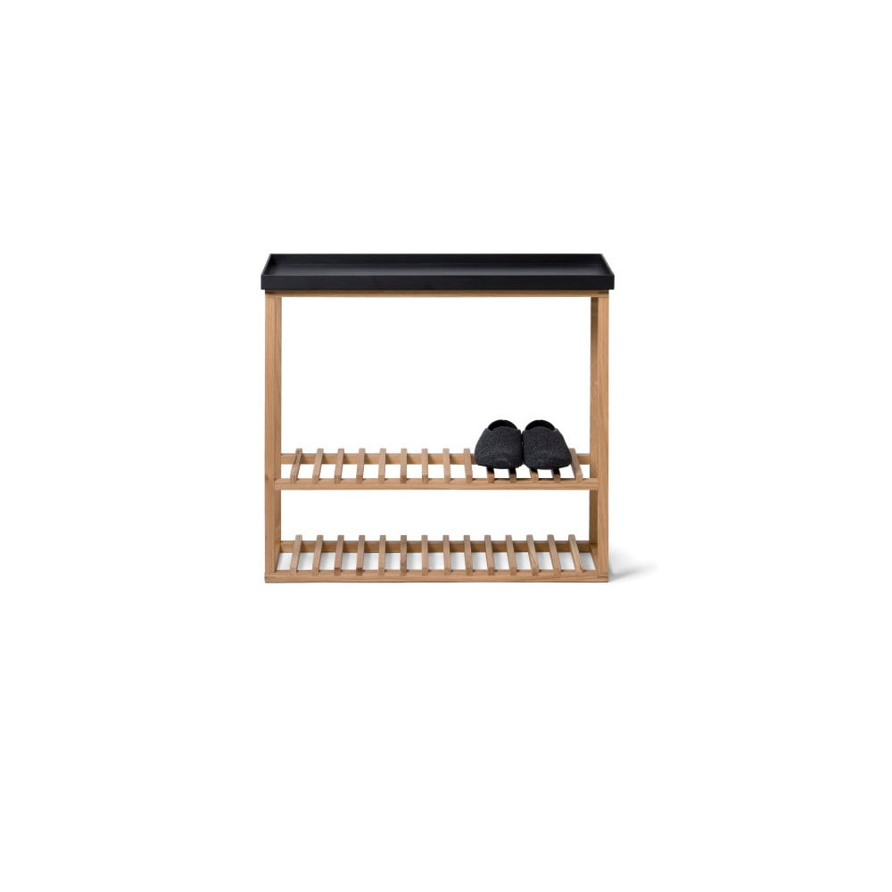 Regał na buty z czarną półką z drewna dębowego Wireworks Hello Storage