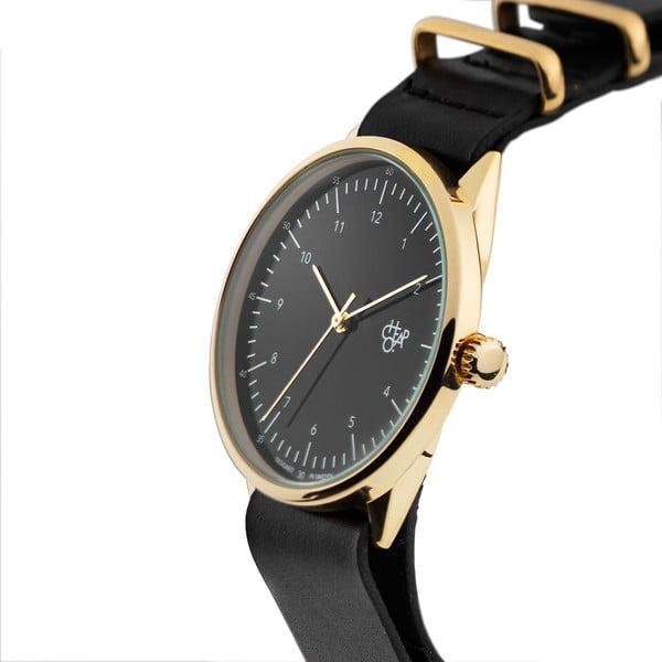 Zegarek z czarnym paskiem i złoto-czarnym cyferblatem CHPO Harold