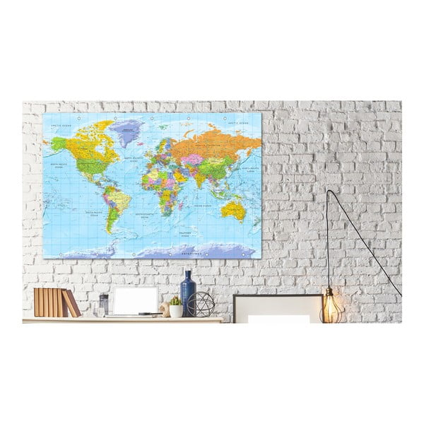 Tablica z mapą świata Bimago Orbis Terrarum 90x60 cm