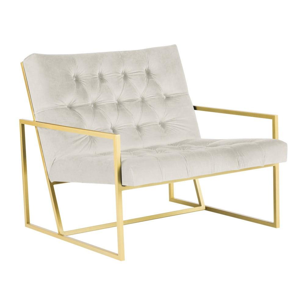 Kremowy fotel z konstrukcją w kolorze złota Mazzini Sofas Bono