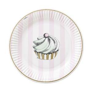 Komplet papierowych talerzy Mini Cupcake, 8 szt.