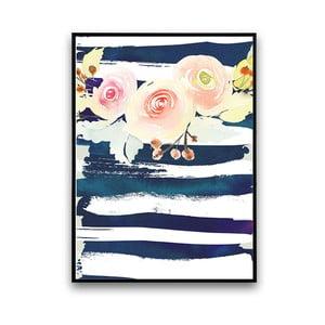 Plakat z kwiatami, biało-niebieskie tło, 30 x 40 cm