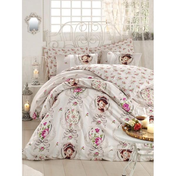 Różowa pościel z prześcieradłem na łóżko dwuosobowe Love Colors Karen, 200 x 220 cm