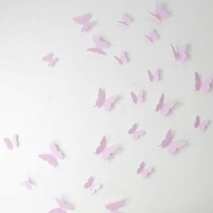 Zestaw 12 naklejek 3D Ambiance Pink Butterflies