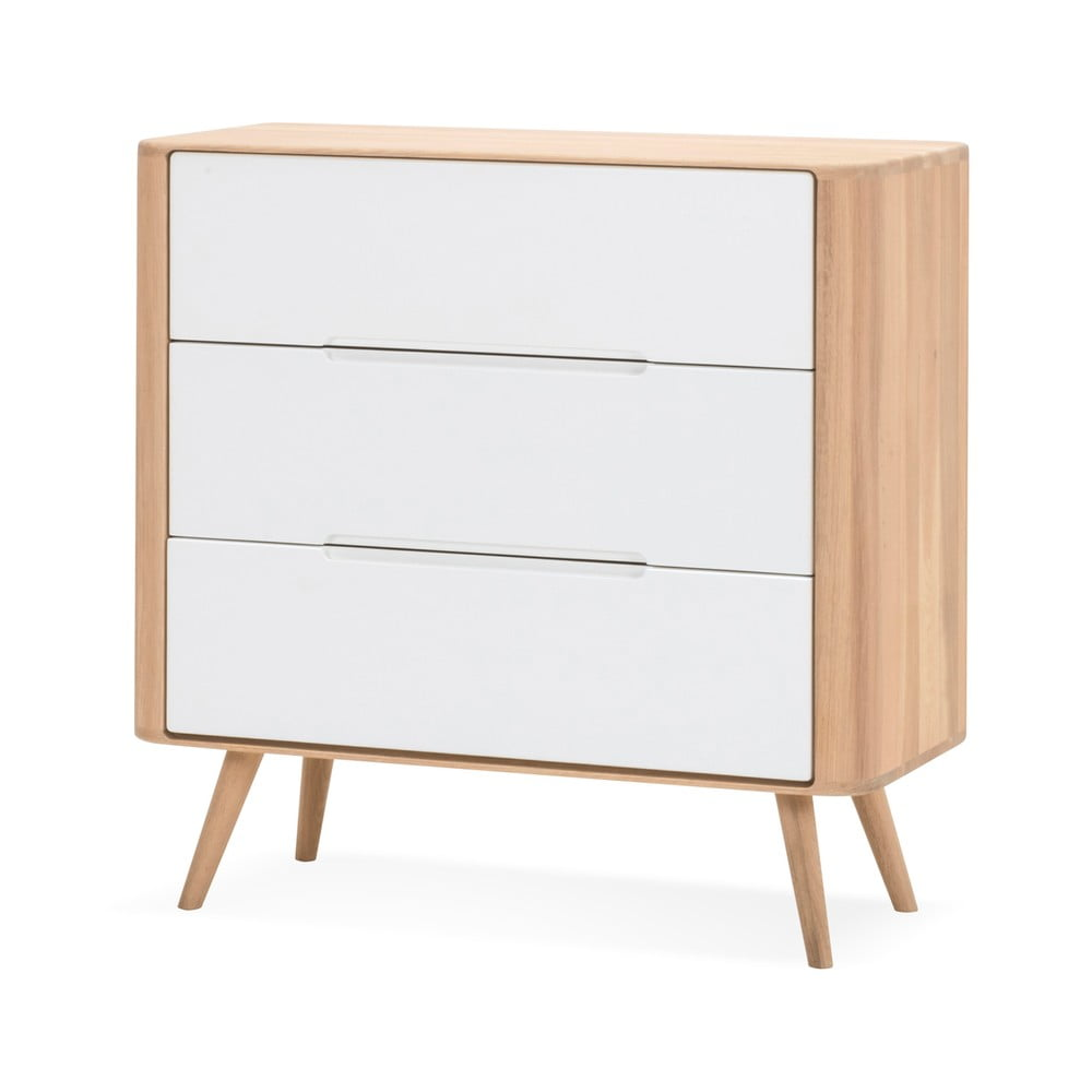 Komoda z drewna dębowego z szufladami Gazzda Ena One, 90x90 cm