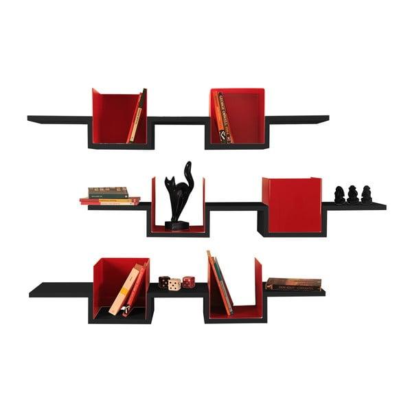 Zestaw 3 półek wiszących Alec Black/Red