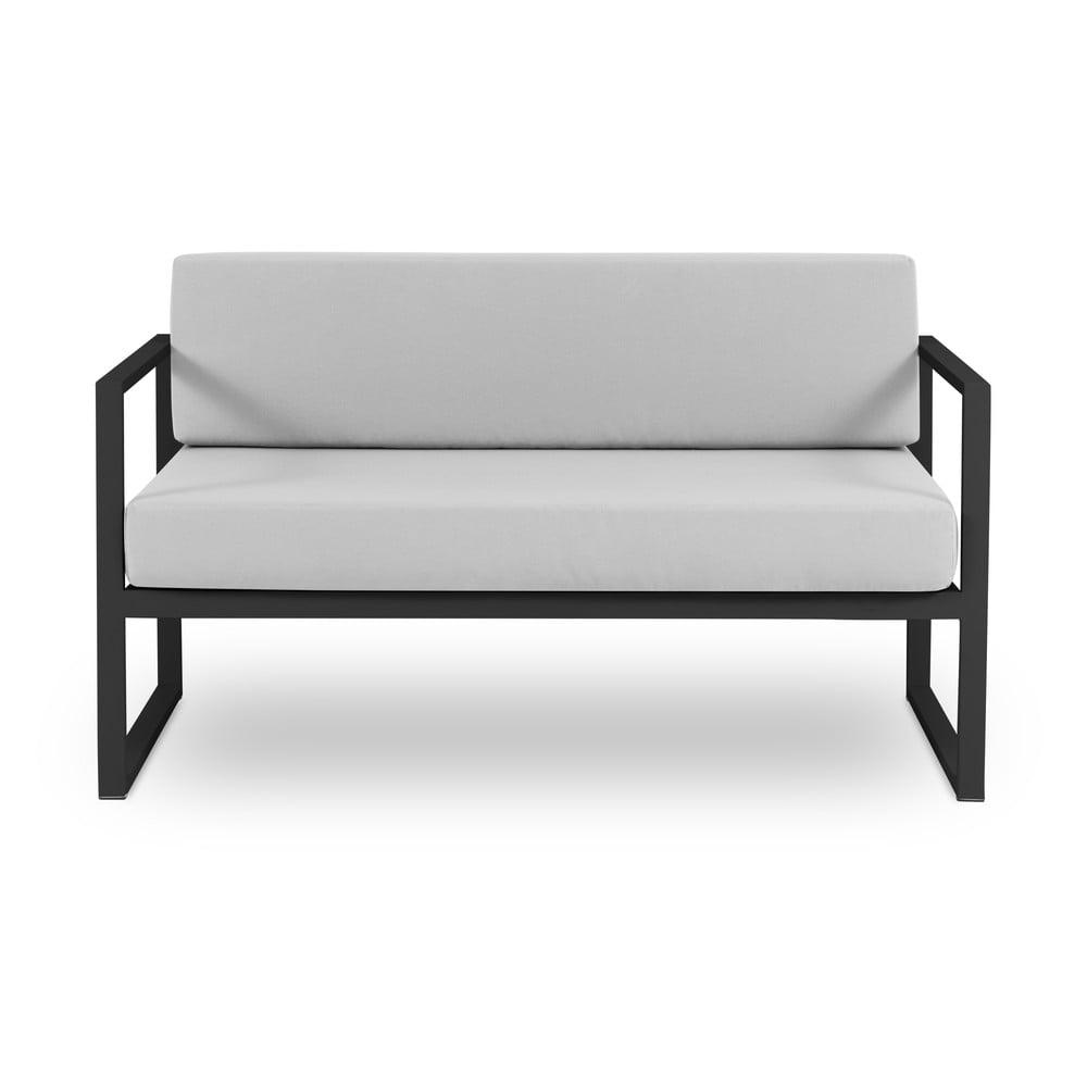 Szara 2-osobowa sofa ogrodowa w czarnej ramie Calme Jardin Nicea
