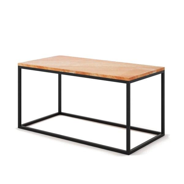 Beżowy stolik z marmuru z czarną konstrukcją Absynth Noi Spain, duży