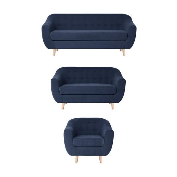 Granatowy zestaw fotela i 2 sof dwuosobowej i trzyosobowej Jalouse Maison Vicky