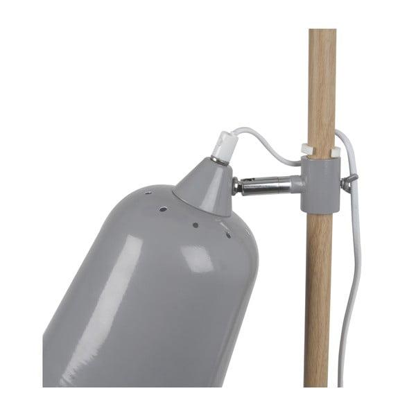 Szara lampa stołowa Leitmotiv Wood