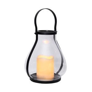 Szklany lampion LED z czarnym okuciem Best Season
