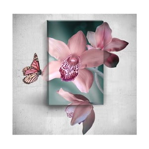 Obraz 3D Mosticx Pink Butterfly With Flowers, 40x60 cm