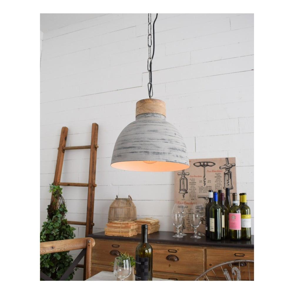 Jasnoszara lampa sufitowa Milano Old Factory, ø 30 cm