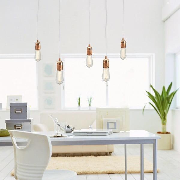 Biało-miedziana pięcioramienna lampa wisząca Bulb Attack Uno