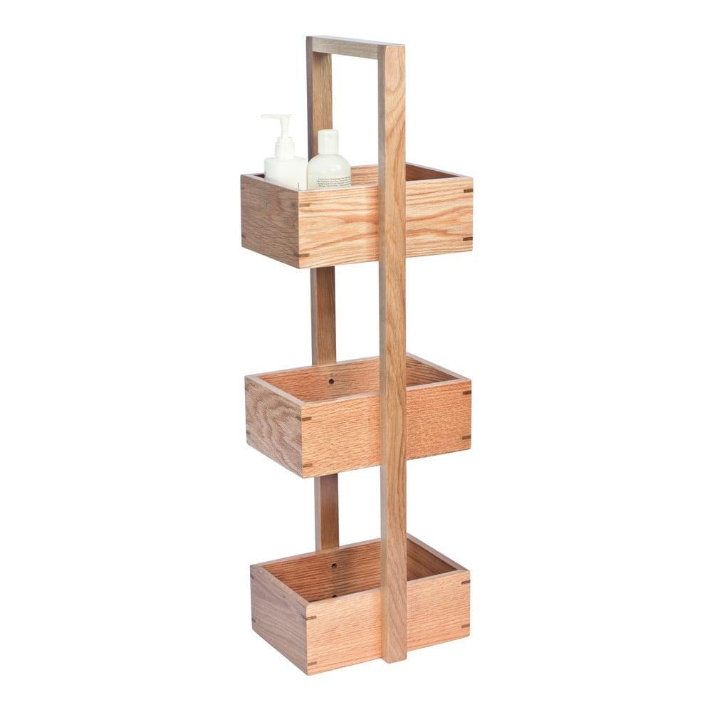 Regał łazienkowy z drewna dębowego Wireworks Caddy Mezza, wys. 84 cm