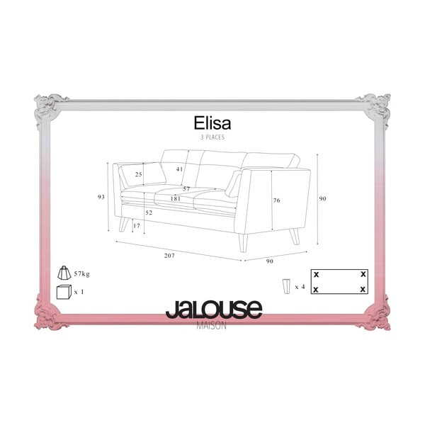 Turkusowa Sofa trzyosobowa Jalouse Maison Elisa