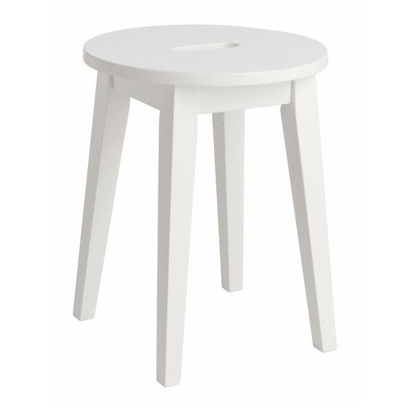 Biały niski stołek z drewna dębowego Rowico Frigg