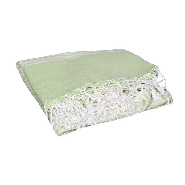 Zielony ręcznik hammam Hermes Green, 90x190cm