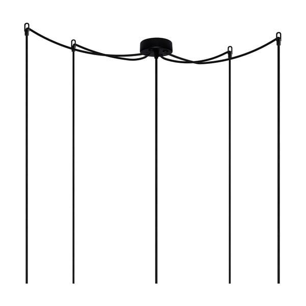 Czarna pięcioramienna lampa wisząca Bulb Attack Uno