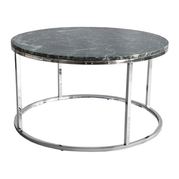 Zielony stolik marmurowy z chromowaną konstrukcją RGE Accent, ⌀85cm