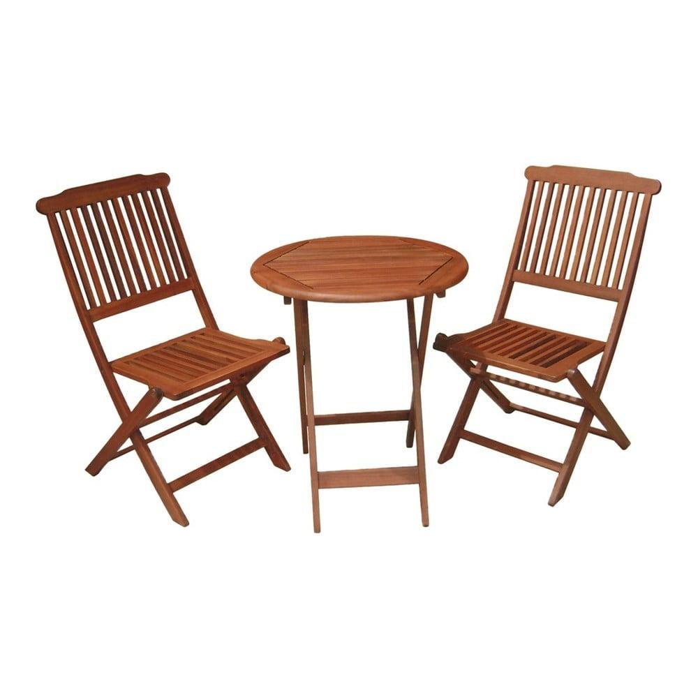Zestaw stolika i 2 krzeseł z drewna eukaliptusowego AADU Prague