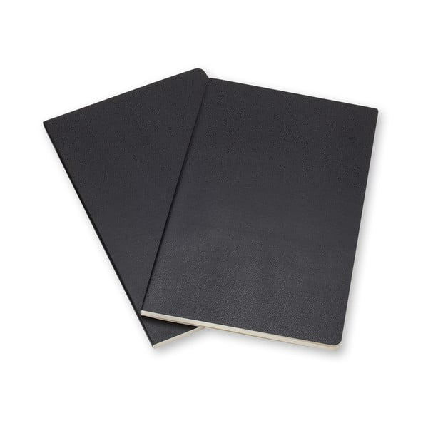 Zestaw 2 czarnych notesów w linie Moleskine Volant, 7x11 cm