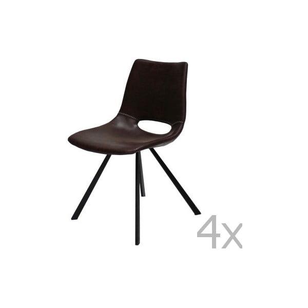 Zestaw 4 brązowych krzeseł Canett Coronas