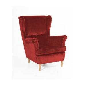 Czerwony fotel z jasnobrązowymi nogami Max Winzer Clint Suede