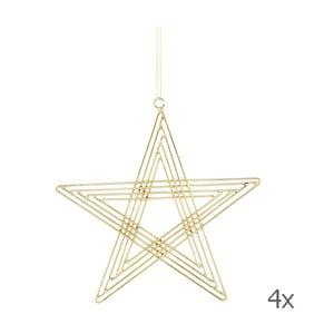 Zestaw 4 gwiazd wiszących Path Brass