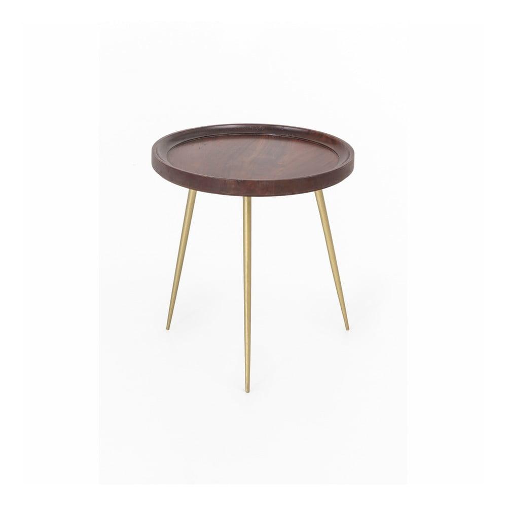 Stolik z drewna akacjowego WOOX LIVING Nora, ⌀ 46 cm