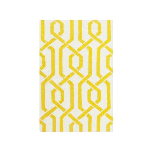 Dywan wełniany Camilla Yellow, 60x90 cm