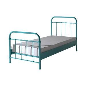 Miętowe metalowe łóżko dziecięce Vipack New York, 90x200 cm