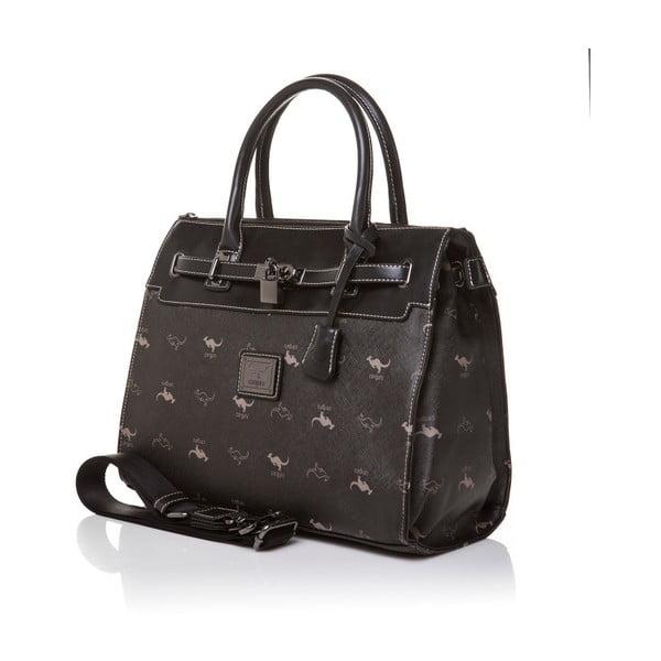 Skórzana torebka do ręki Canguru Pendant, czarna