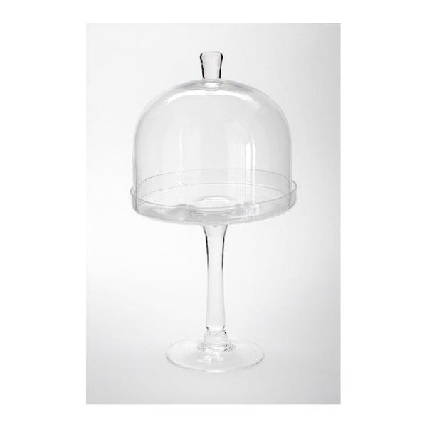 Szklana patera z przykrywą Dome Knob, 20x38 cm