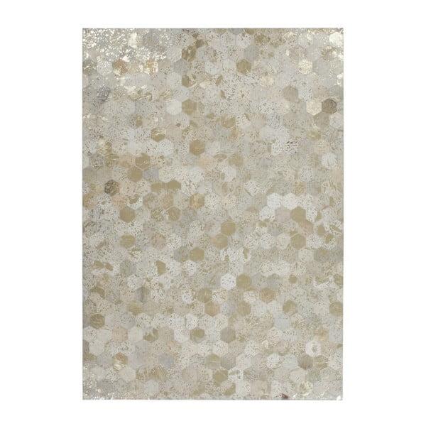 Kremowo-złoty skórzany dywan Daz, 120x170cm