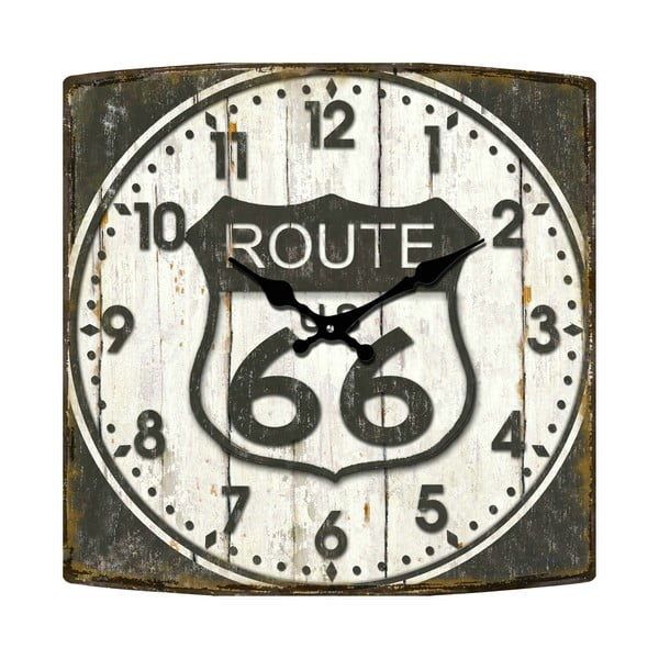 Szklany zegar Route 66, 34x34 cm