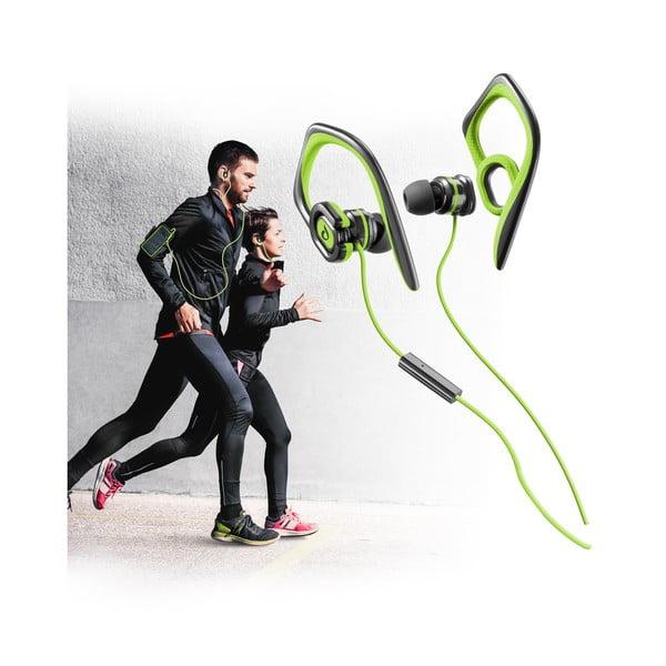 Słuchawki sportowe CellularLine GRASSHOPPER z mikrofonem, limetkowe